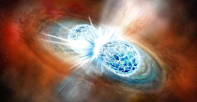 观测数据显示,在这两颗中子星的合并现场可以观察到明显的迹象,显示那里合成了大量重元素,包括金,铂和铀等。这回答了一个长期悬而未决的问题:宇宙中的重元素从何而来?