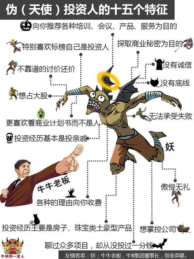 伪创业者的十六个特征、伪天使投资人的十五个特征等五张经典图