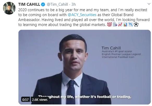 澳大利亚足球明星 Tim Cahill宣布与ACY稀万证券建立合作伙伴关系
