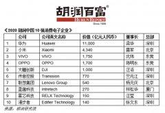 2020胡润中国10强消费电子企业名单发布